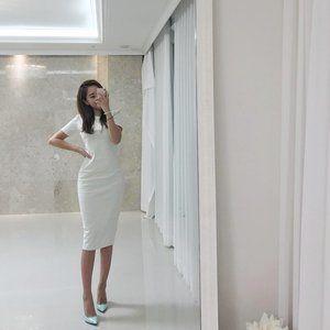 Cream Short Sleeve Dress Casual Work Comfortable